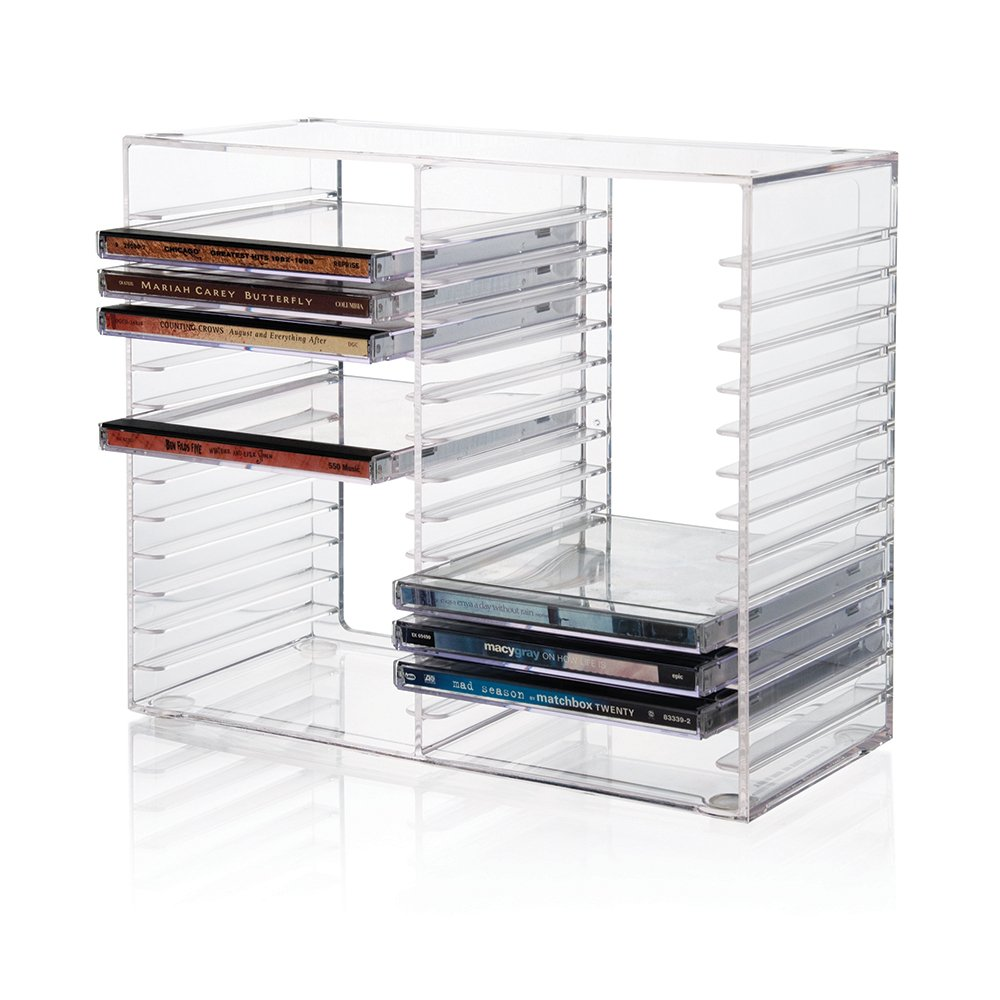 Stackable Dvd Acryl Storage Holder Case Clear Acrylic Cd Display Rack for <strong>Retail</strong>