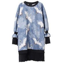 XITAO, Сетчатое платье с подолом, модный новый пуловер, богиня, веер, принт, миноритарное, 2020, Осеннее, повседневное, стильное, свободное платье ...(Китай)
