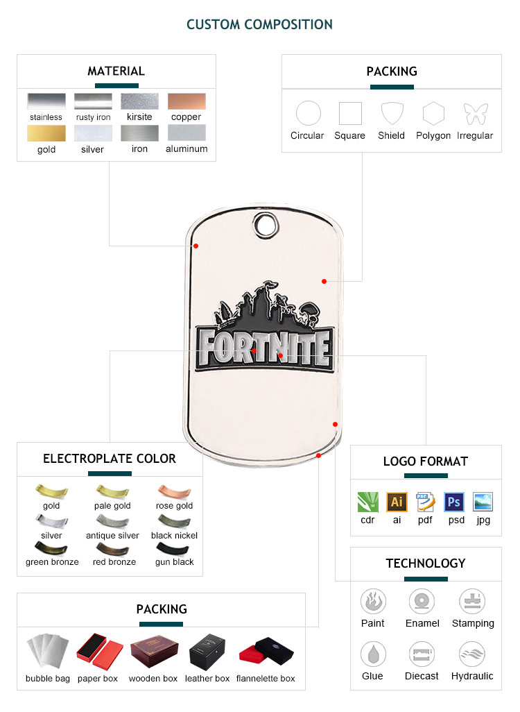 customize decorative color cheap army dog tag with necklaces