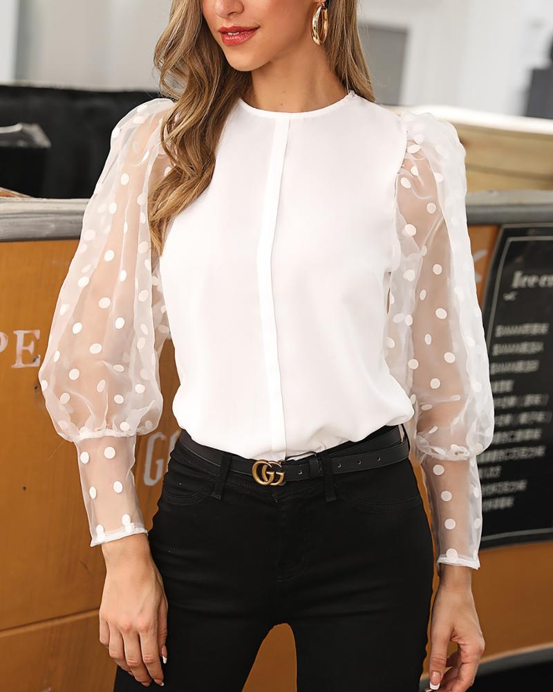 Women's Shirt Tops White Sexy Lantern Sleeve Dot <strong>Blouse</strong> Women 2019 Casual Chiffon Mesh <strong>Lace</strong> Transparent <strong>Blouses</strong>