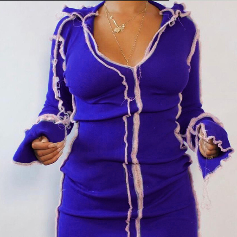 Bộ Sưu Tập Mới Thời Trang V Cổ Dài Tay Áo Màu Hồng Tương Phản Phụ Nữ Băng 2020 Váy Mùa Thu