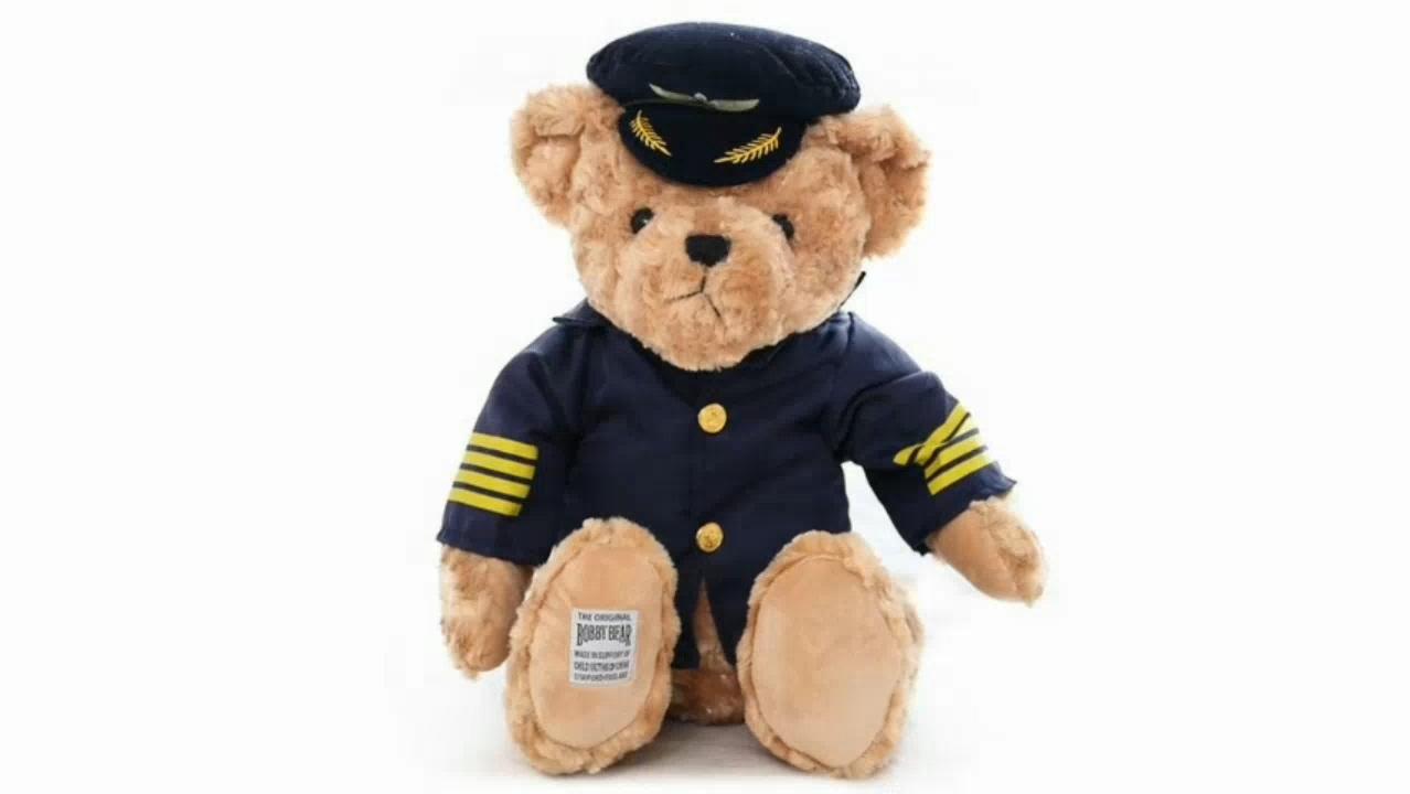 파일럿 곰 플러시 장난감 캡틴 곰 인형 생일 선물