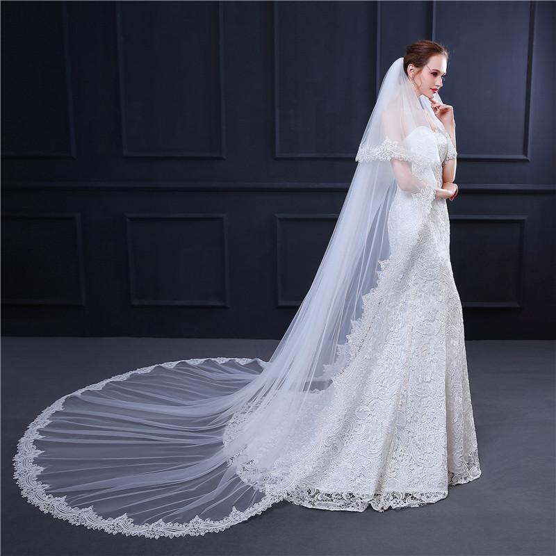 2020 New Style Long Tulle Wedding Bridal Veil Lace women Wedding Veil