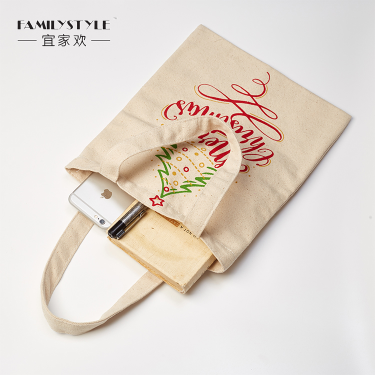 Large Cotton Customized Print Christmas Canvas Gift Bag with Handle