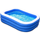 Three Rings Blue and White PVC Inflatable Family Swimming Pool Outdoor