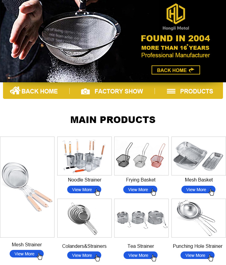 Amazon New Kitchen Vegetables Stainless Steel Strainer Pasta Pot Strainer Noodle Strainer With Wooden Handle