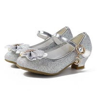 Hot selling Silver Sequined comfort 3cm heel fashionable wedding Flower Girl dress shoes