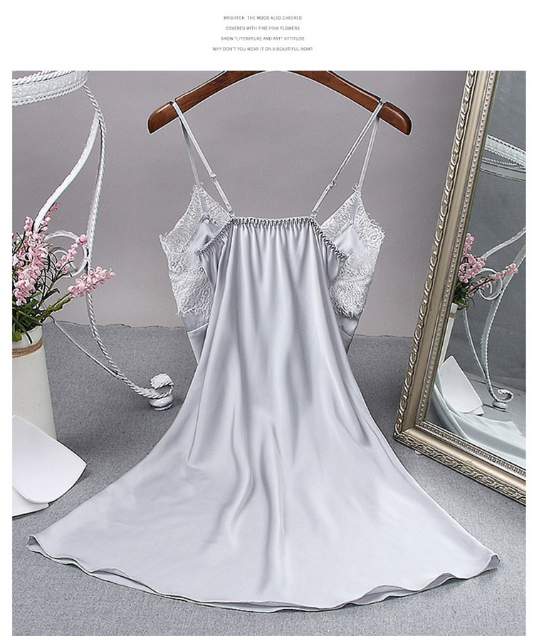 High Quality Home Dress Belt Lace Nightgown Bridal Silk Pajamas Dresses in Summer Tot Style Nightshirt