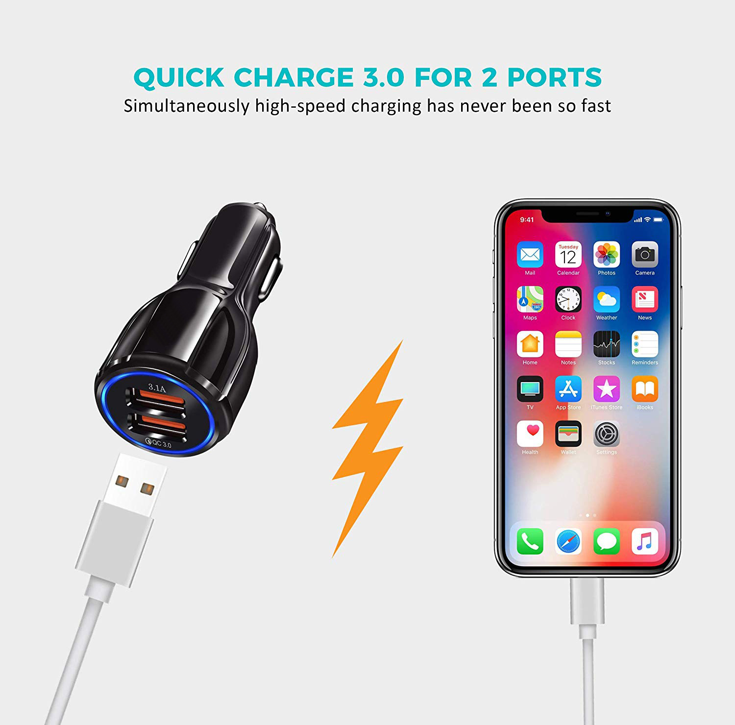 Quick Charge 3.0 Car Charger, 35W 3.1A Dual QC3.0 Car Charger Compatible for Samsung Galaxy