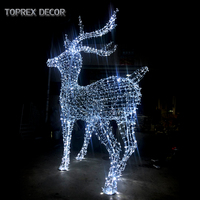 Shopping mall event christmas decoration outdoor use metal frame led 3d motif deers