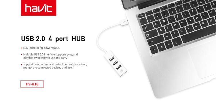 HAVIT 4 ports 2.0 USB Hub with LED Indicator HV-H18