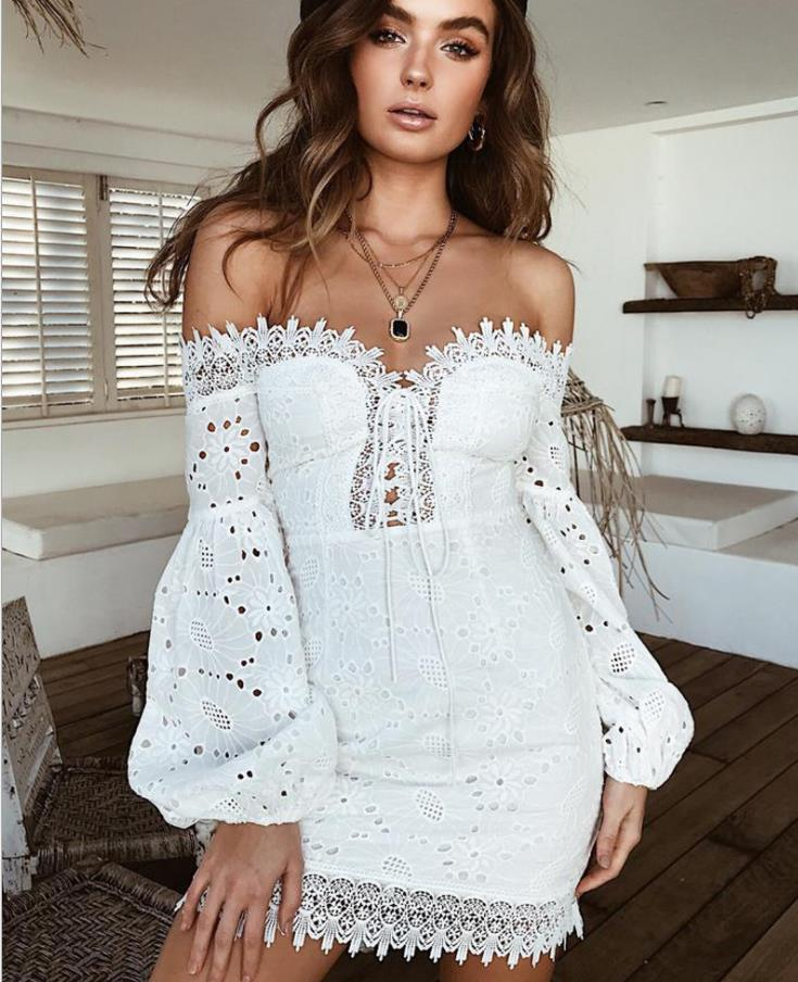 Summer White Embroidery Elegant  Dresses Women Beach Sundress Sexy Off Shoulder Short Party Wrap Bodycon Bandage Dress
