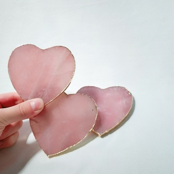China Wholesale mini rose quartz coaster for sale crystal pink slices