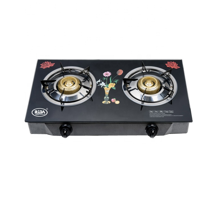 China factory price commercial portable 2 burner tempered glass top table gas cooker/gas stove/ cooktop