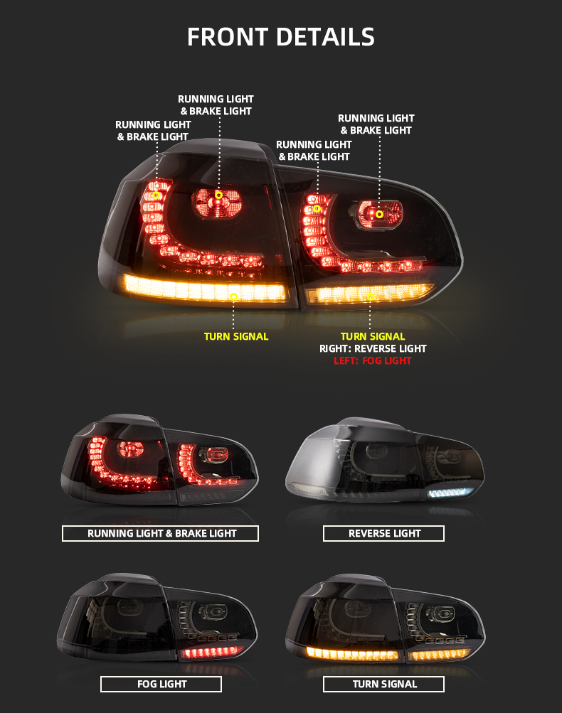 VLAND factory wholesales led sequential golf 6 Smoke rear light 2008-2013 taillights For vw golf mk6