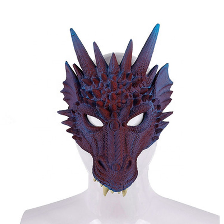 2019 Nouveau Unique Pourim EN Mousse PU Souple 3D Costume D'animal Demi Visage Dragon Carnaval Masque D'halloween