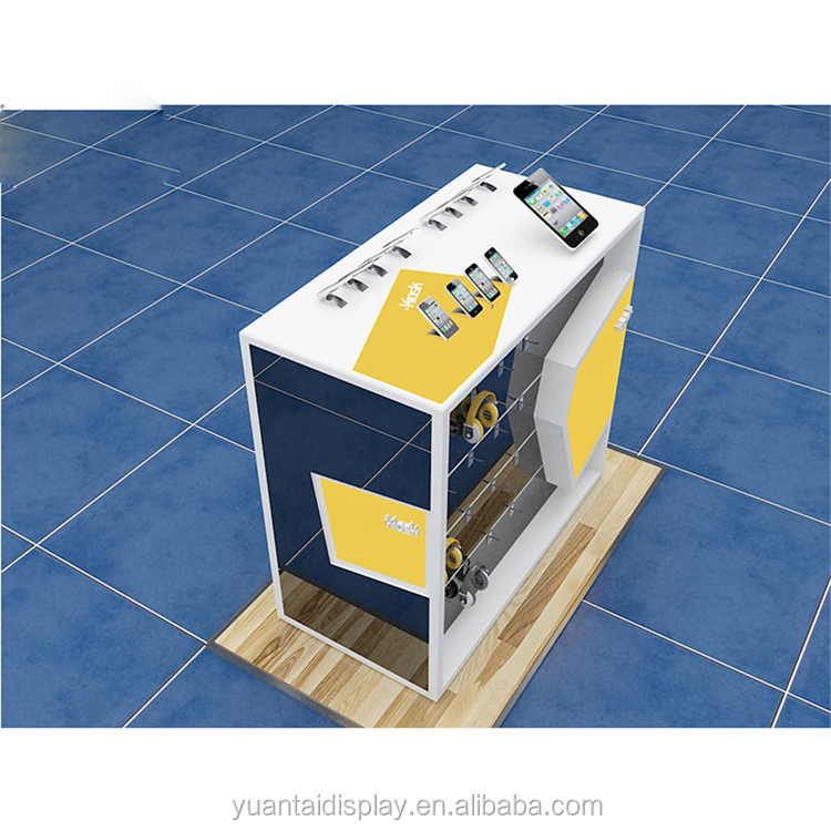 Wood and glass mobile phone accessories display counter kiosk shop showcase design