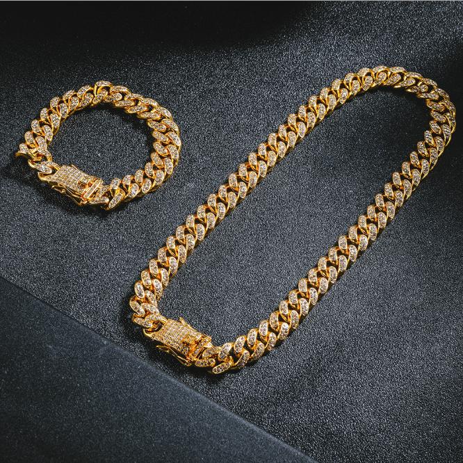 В стиле «хип-хоп» 12 мм кубинская цепь со стразами с плакировкой золота сплава цинка Майами КУБИНСКИЙ звено цепи ожерелье