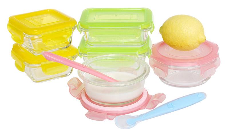조합 팩 150 미리리터 광장 유리 아기 식품 용기
