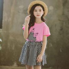 Комплект детской одежды для девочек, модная футболка + клетчатая юбка, комплект из 2 предметов, на лето, 2020 г., 2 От 3 до 13 лет(Китай)