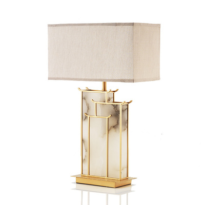 2020 new modern marble creative decoration simple living room bedroom study bedside table lamp silk lamp shade