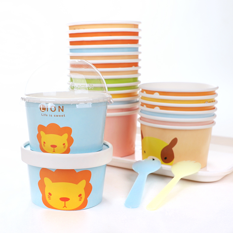 Custom Printed Disposable Double Pe Coated Paper Frozen Yogurt Ice Cream Cup Packaging