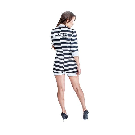 Halloween Cosplay Sexy Prisoner Jumpsuit Costume For Women