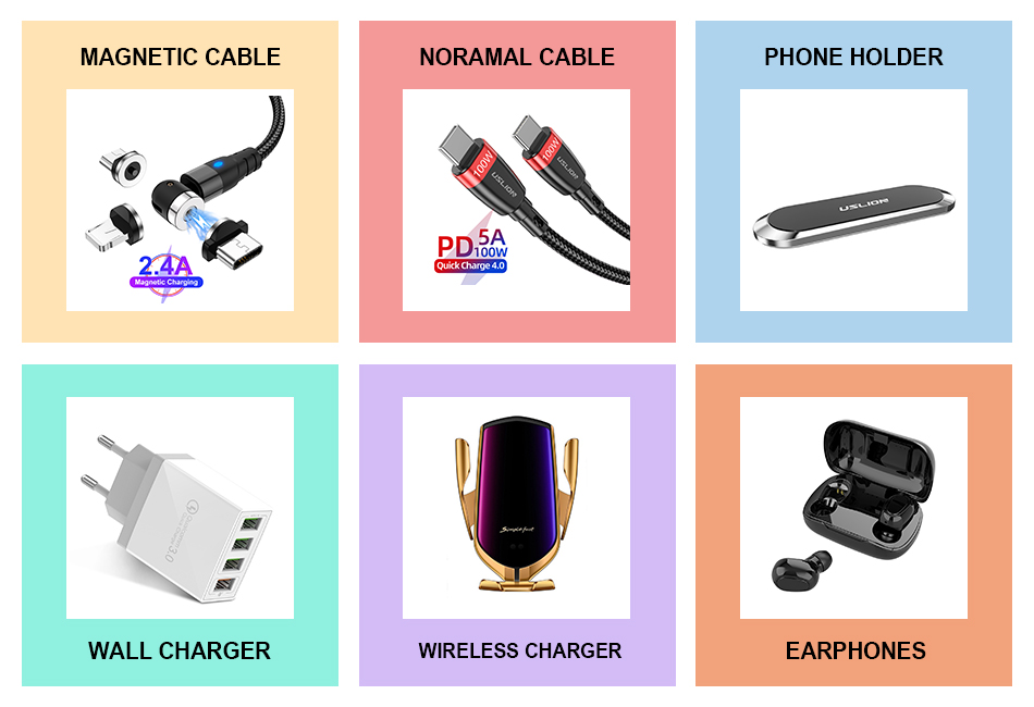 USLION wholesale 1M 540 Degree Led Nylon Weave Magnetic Charging USB Cable For Android Type-c Iphone