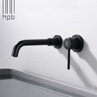 European style color concealed wall mounted bathroom sink faucet single lever basin tap