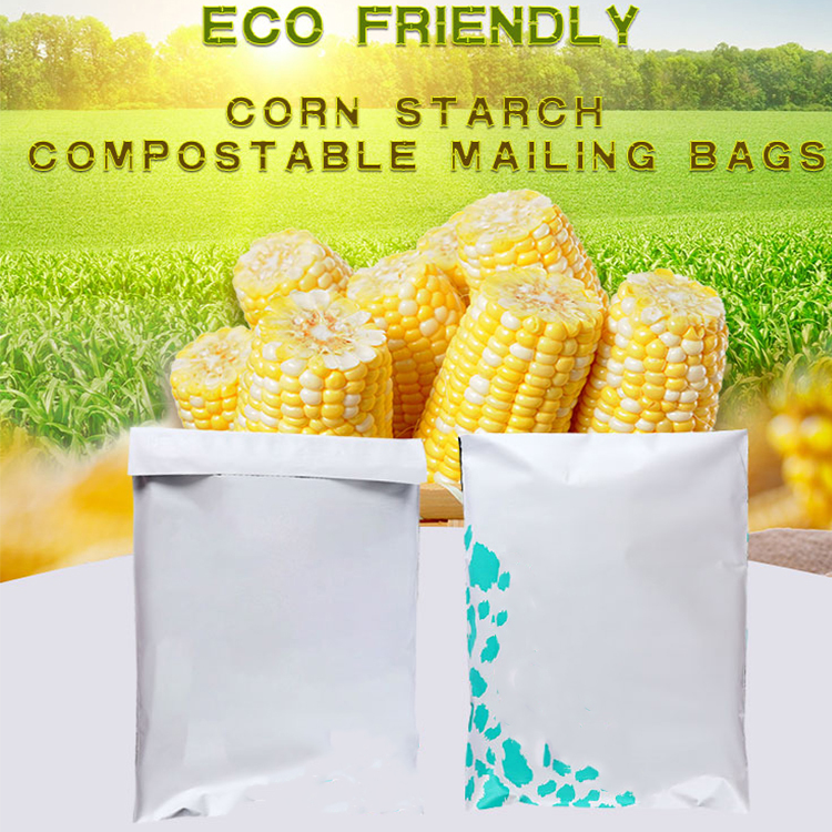 cornstarch made biodegradable and compostable courier mailing plastic shipping packaging bag with custom logo