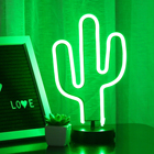 Led Led Decoration Bolylight 3*AA Battery LED Green Cactus Neon Night Light Led Home Decoration For Home/Bedroom/Party/Desk