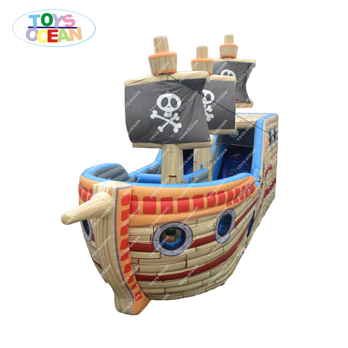 Cheap Adult Inflatable Pirate Ship Playground Jumping Castle Obstacle Slide Course
