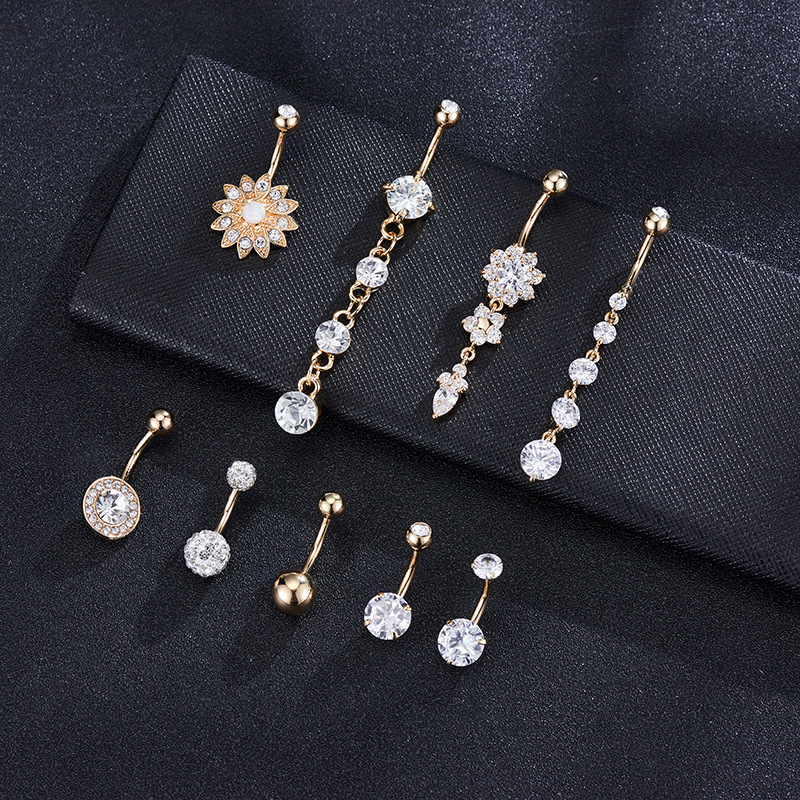 10Pcs/set <strong>Clear</strong> <strong>Crystal</strong> Rhinestone Heart Belly Button Navel Rings Shiny CZ Gem Round Bar Navel Ring