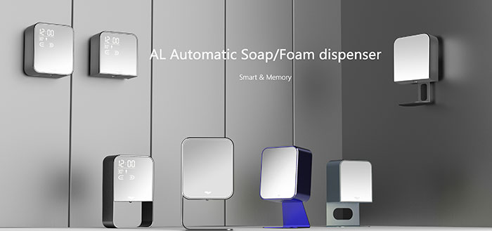 Kitchen and bathroom automatic smart soap dispenser desk stand with screen