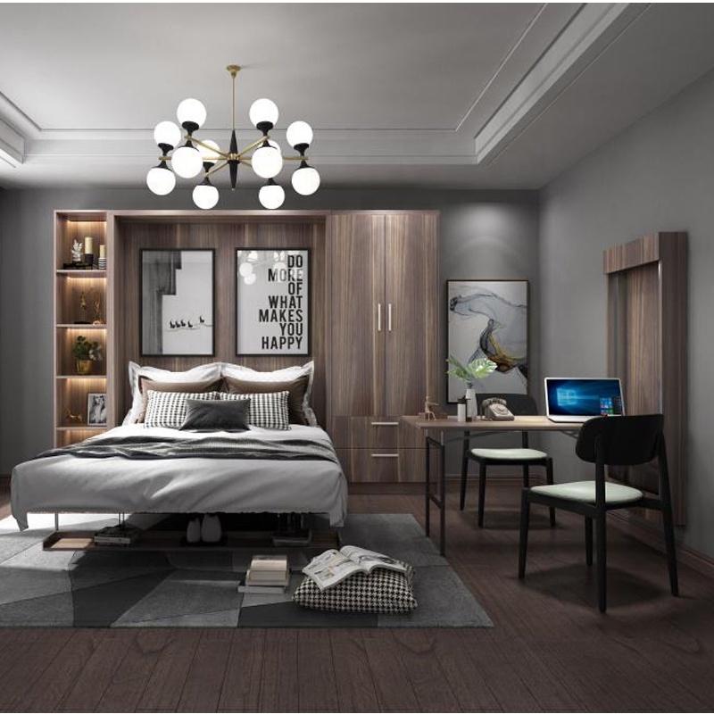 Dinding Tempat Tidur Kayu Single Furniture Ranjang Lipat Wallbed Murphy Bed