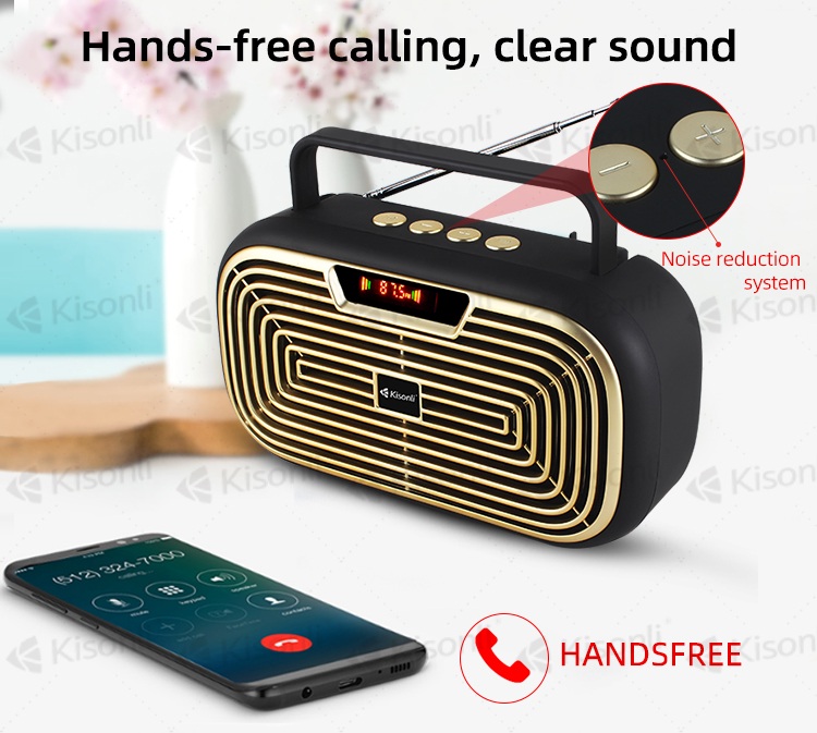Kisonli LCD HD display bluetooth speaker with wireless mini remote control and antenna
