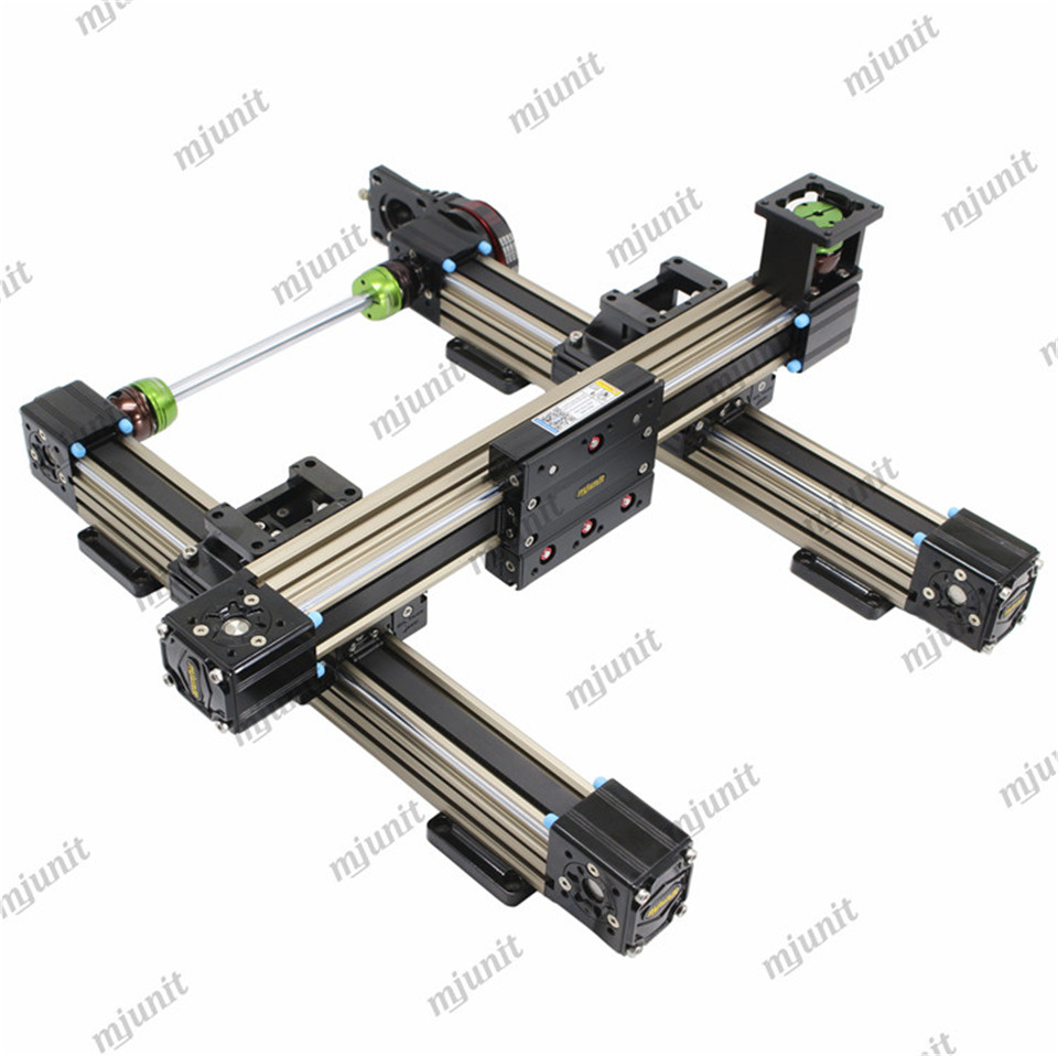 mjunit toothed belt drive linear module guide rail actuator sliding guideway with xy axis gantry dual heads fast speed for white