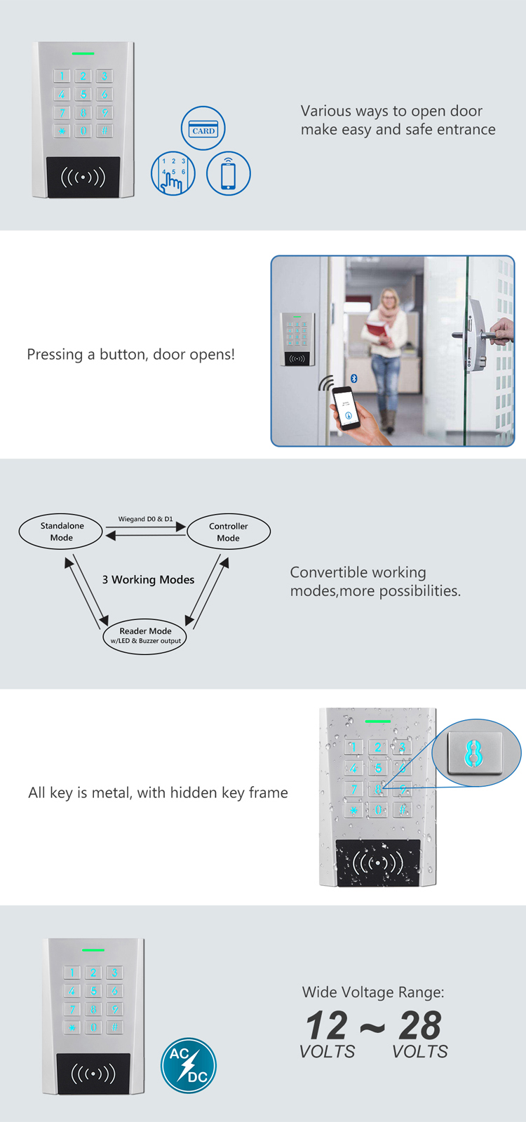 Rfid Keypad Bluetooth Door Access Control Remote Controlled By Smartphone APP