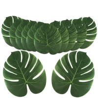 Party Suppliers 12 Pcs Tropical Artificial Leaves Plates Centerpieces Table Runner for Luau or Tropical Island Style Pool Party