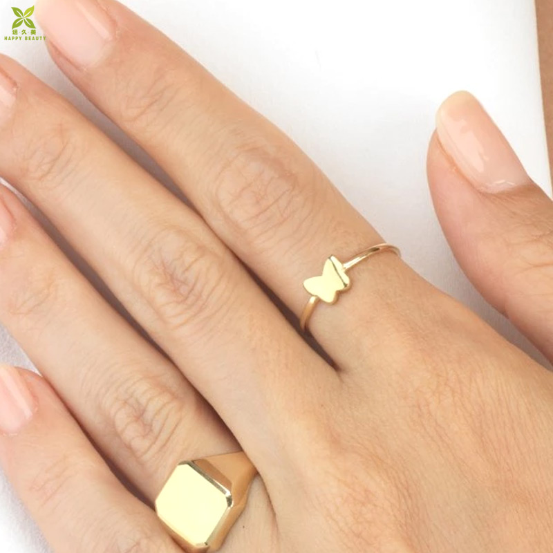 New design rings jewelry 14k gold plated tiny butterfly finger ring for ladies