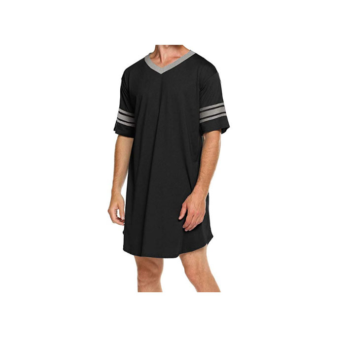 N //C Mens Nightwear Comfy Nightshirt Big/&Tall V Neck Short Sleeve Soft Loose Pajama Sleep Shirt