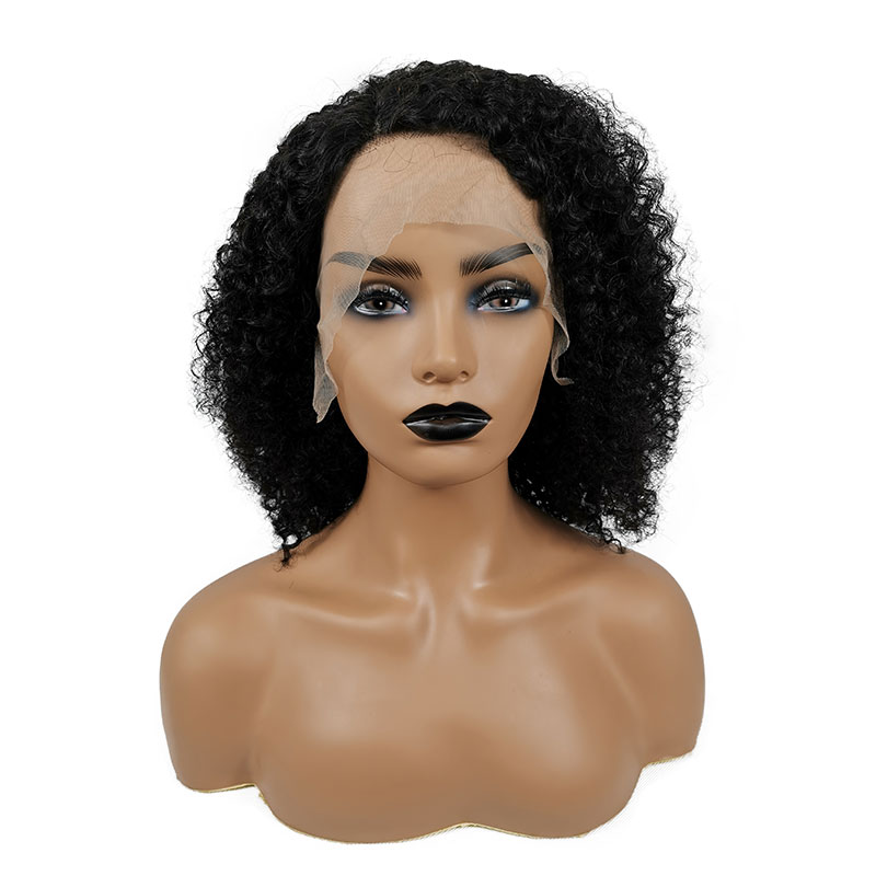 Wholesale Factory Price Short Jerry Curly Lace Front Wig Natural Color Remy Brazilian Short Human Hair Bob Wigs For Black Women