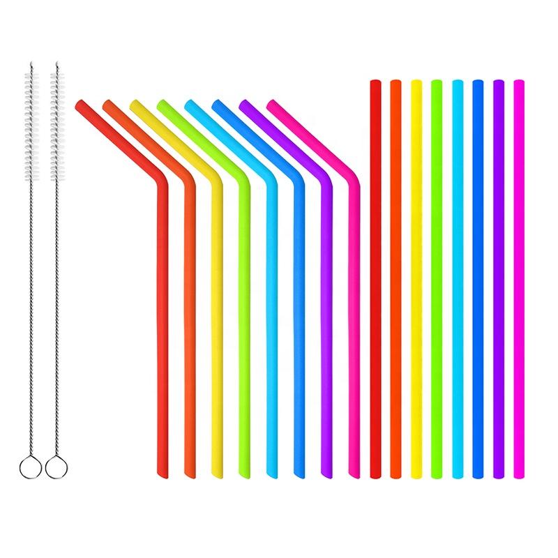 Colorful bpa free bar reusable food grade folding straight straw silicone custom drinking straw