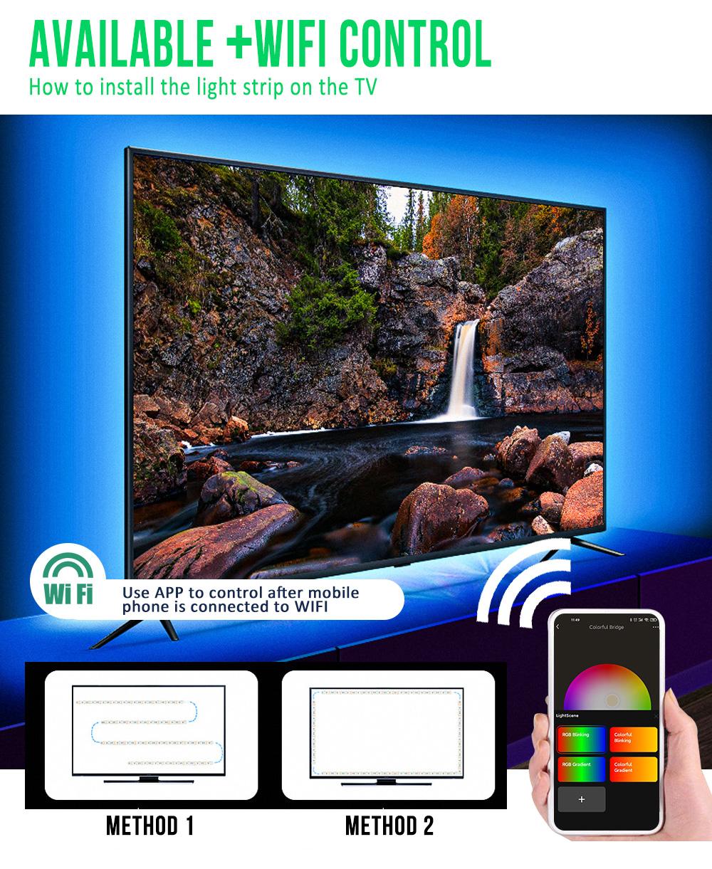 LED strip light RGB SMD5050 30Chips/M WIFI Waterproof strips 5M 10M 15M 20M led  DC12V WIFI Remote Control Led Strips