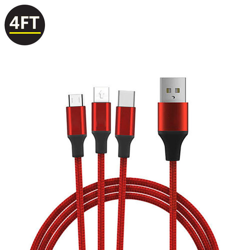 3 In 1 Otg Charger Nylon Telefoon Micro USB Datakabel