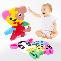 Best selling baby educational cartoon toy 3d wooden mini animal zoo puzzle educational toys children spin toy
