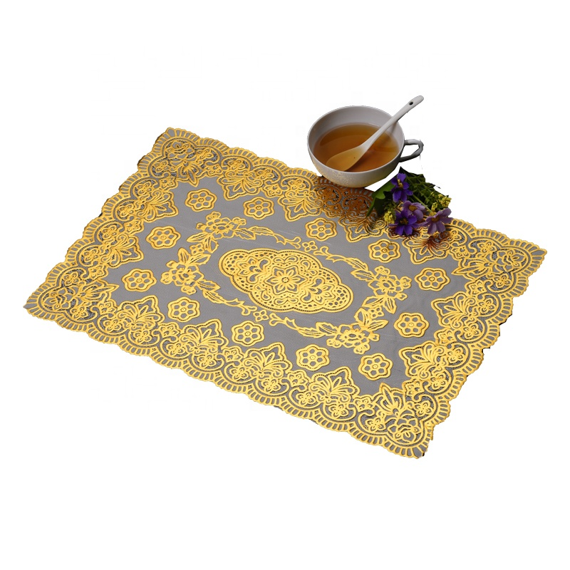 Gold washable PVC Floral Pretty Lace Effect Wipe Clean <strong>Vinyl</strong> <strong>Placemat</strong>
