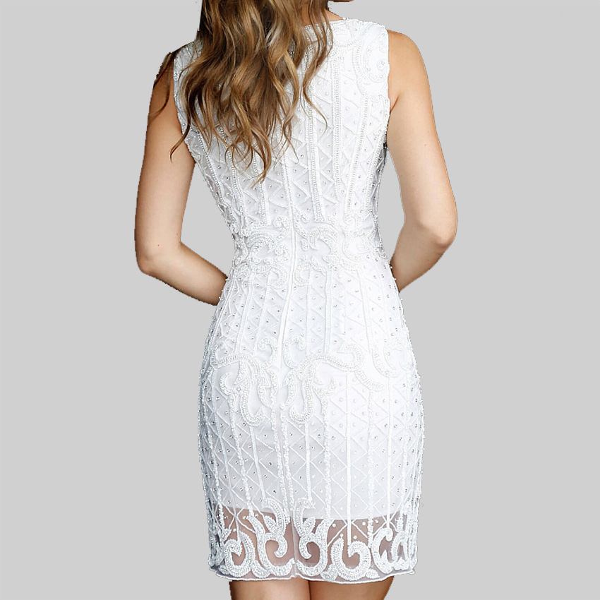 Latest Gorgeous night sexy dresses club gown Ivory Sleeveless halter neck lace Embellished Short mini dress for women