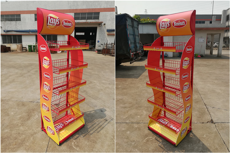 customize supermarket promotional floor standing advertising 5 shelves wire basket potato chip sweet display rack