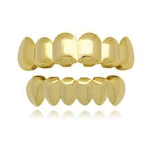 Хип-хоп золотые зубцы Grillz, верхние и нижние грили, колпачки для зубов в стиле панк, для косплея, вечерние зубные рэппер, украшения в подарок ...(Китай)